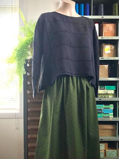 Khaki gather midi skirt