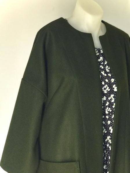 Khaki wool duster coat