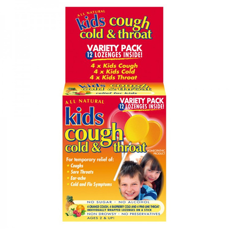 KIDS COUGH COLD & THROAT VARIETY P 12'S