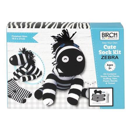 Kids DIY Sew Your Own Cute Sock Kit: Zebra