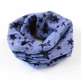 KIDS  O Ring Neck Scarf with STARS - BLUE