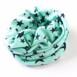 KIDS  O Ring Neck Scarf with STARS - GREEN