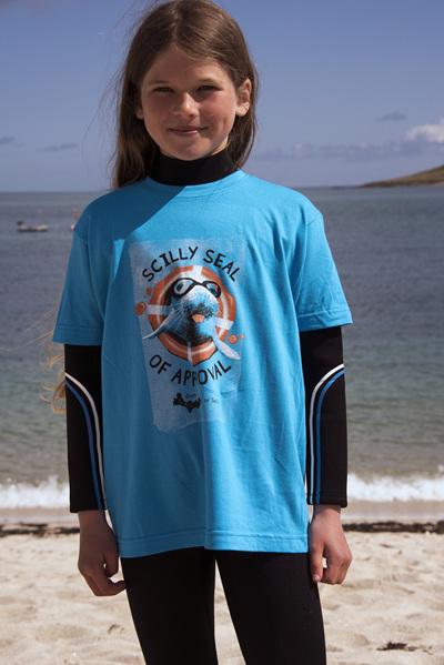 Kids' Scilly Seal Tee - Aqua