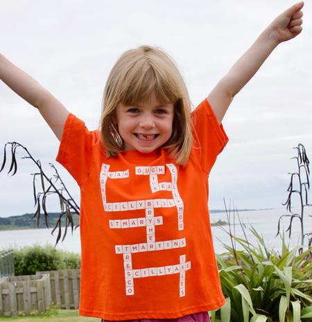 Kids' Scrabble Tee - Orange