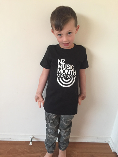 Kids/Youth Black  NZ Music Month Tee
