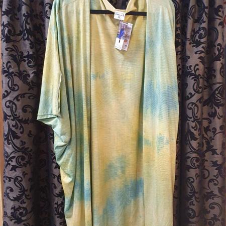 Kimono Cardi - Yellowy Greens