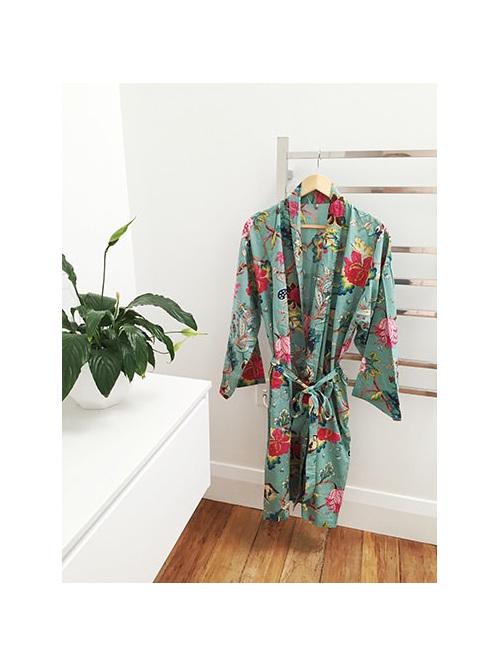 Kimono Dressing Gown - Pale Aqua - Little Rock Kaikoura