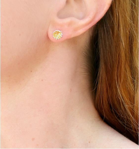 kina gold studs earrings sterling silver sea urchin ocean summer worn