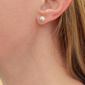 kina sea urchin sterling silver star studs earrings minimal dainty delicate