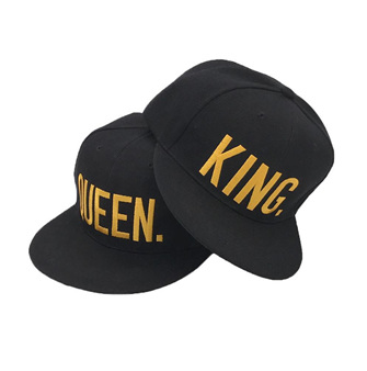 KING & QUEEN HAT GOLD WRITING