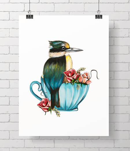 kingfisher - teacup