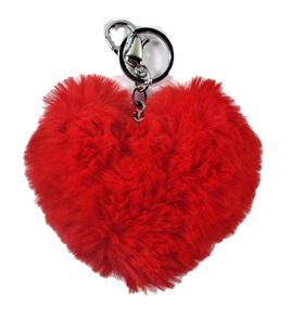 Kitsch Fluffy Red Heart Keyring