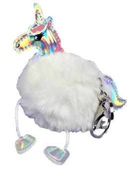 Kitsch Fluffy Unicorn Keyring