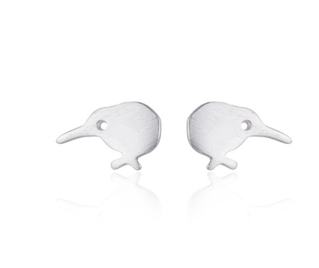 KIWI BIRD STUD EARRINGS - Silver colour