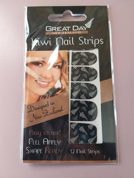 Kiwi Fern Nail Strips with Nail File- BLACK