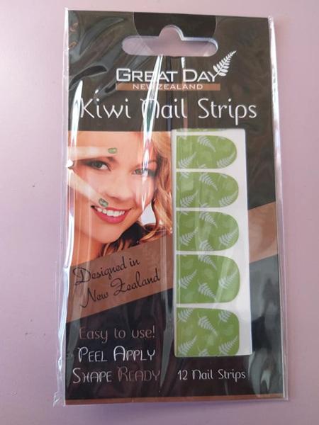 Kiwi Fern Nail Strips with Nail File- Green