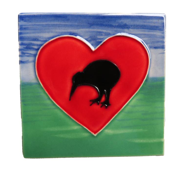 Kiwi heart ceramic wall art tile.