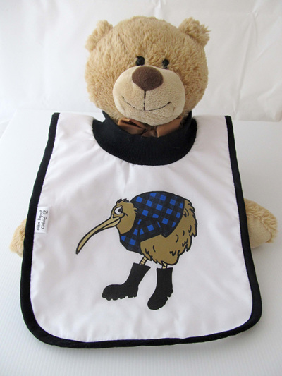 Kiwi in blue with gumboots bib