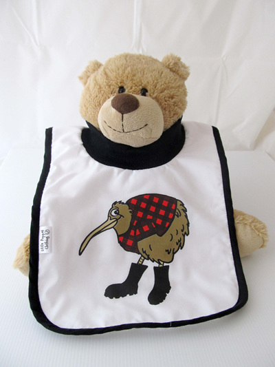 Kiwi in red with gumboots bib