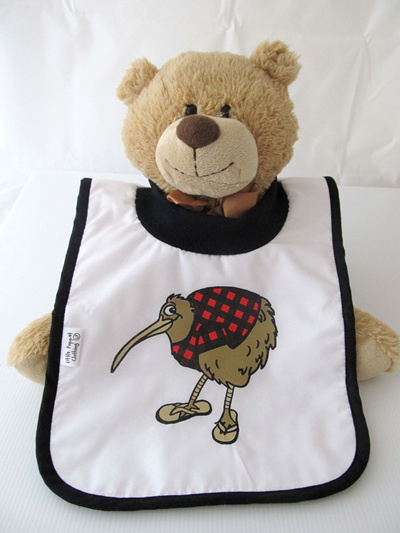 Kiwi in red with jandals bib