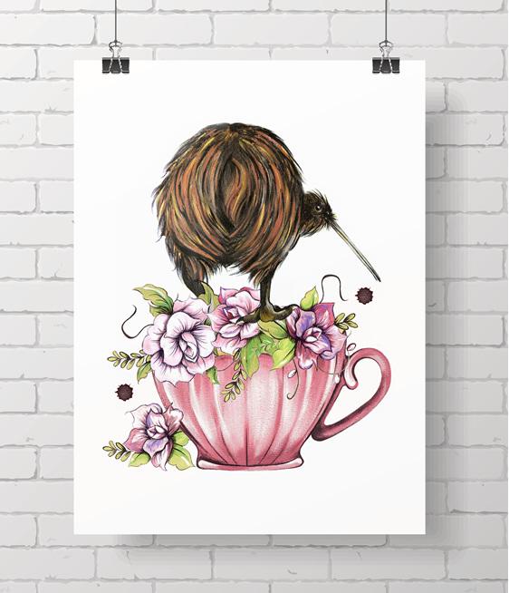 kiwi - teacup