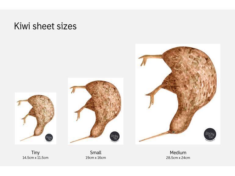 Kiwi wall decal sheet sizes