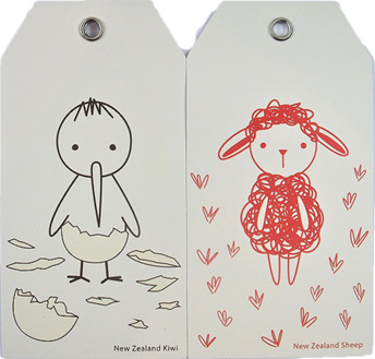 Kiwiana Gift Tags Bambino Kiwi and Sheep