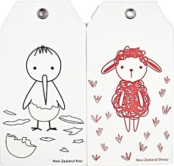 Kiwiana Gift Tags Bambino Kiwi and Sheep
