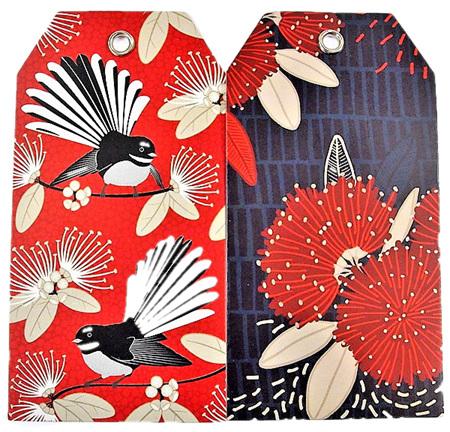 Kiwiana Gift Tags Crimson Pohutukawa and Flirting Fantails