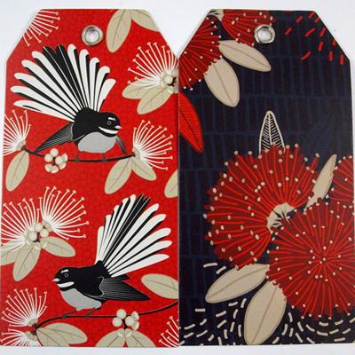 Kiwiana Gift Tags - Crimson Pohutukawa & Flirting Fantails