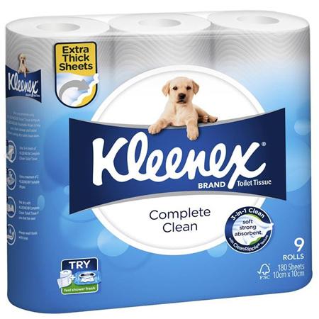 Kleenex Complete Clean Toilet Tissue, 9 Rolls