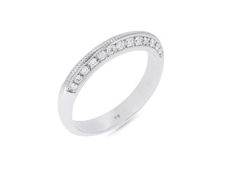 Knife Edge Milgrain Diamond Wedding Ring