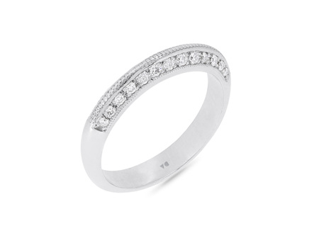 Knife Edge Milgrain Diamond Wedding Ring