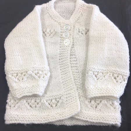 Knitted cardigan premature baby white