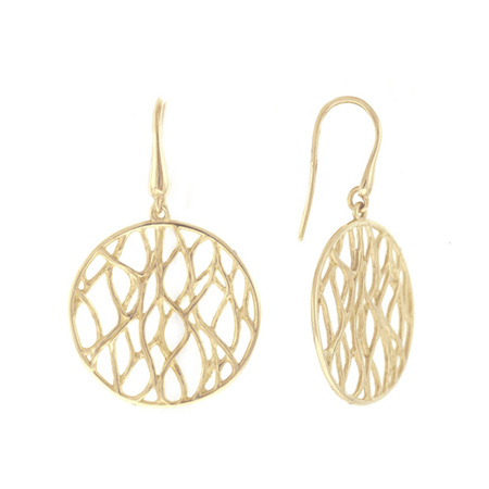 Knitted Gold  Round Earrings
