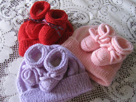 Knitted Hat and Bootees - Birth to 3 Months