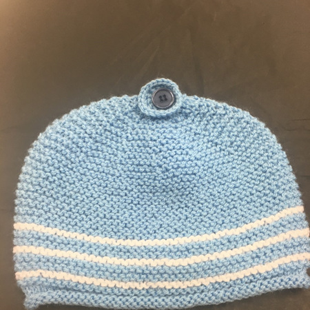 Knitted Hat - Blue with Button - 0 to 12 months