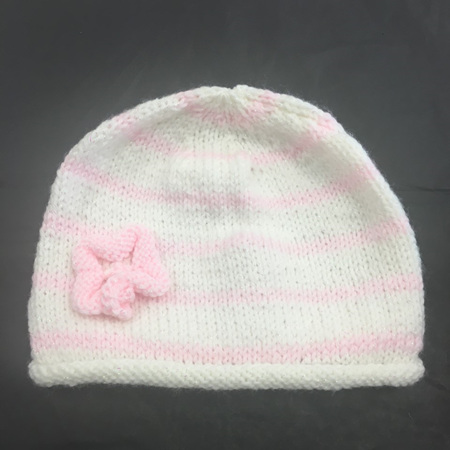 Knitted Hat - Pink and White - 0 to 12 months