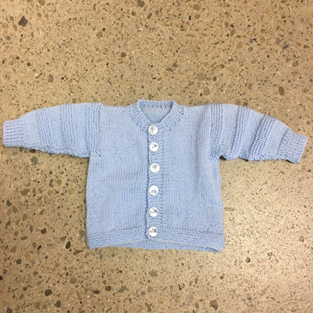Knitted Jacket Wool & Acrylic - Pale Blue 0-3 months