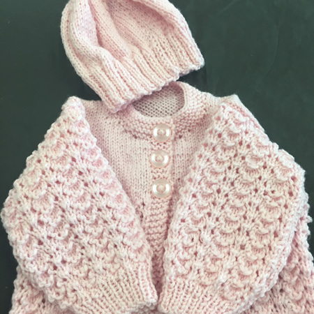 Knitted merino cardigan/hat set pink - premature baby