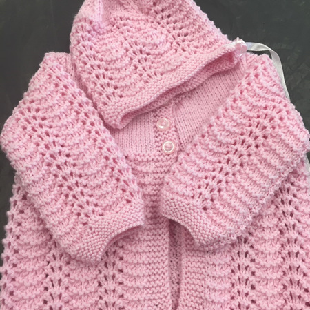 Knitted merino matinee jacket and hat set - pink - 0-6 months.