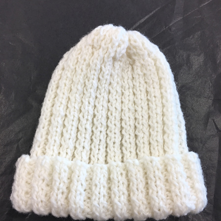Knitted merino ribbed hat - premature baby