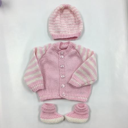 Knitted Merino Wool Cardigan, Hat & Bootie set 0-4 months - Pink & White