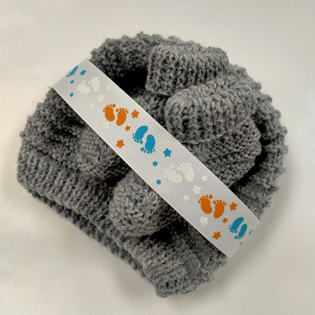 Knitted merino wool hat and bootee set 0-3 months - Light Grey