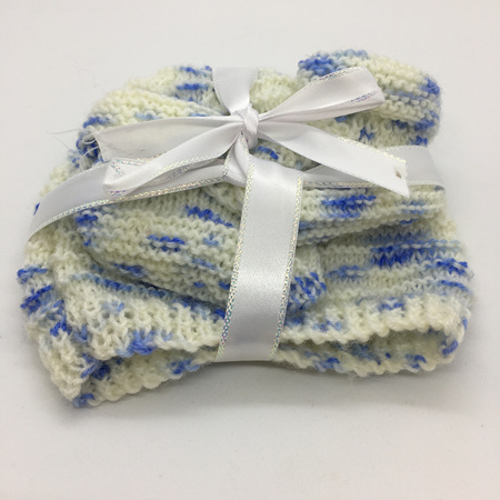 Knitted Merino Wool Hat & Bootie set 0-3 months - White & Blue