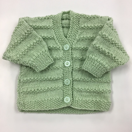 Knitted Pure Wool Cardigan - Green 0-6 months