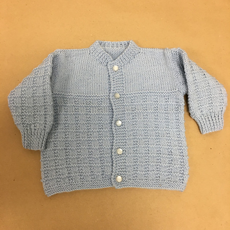 Knitted Pure Wool Cardigan - Light Blue 0-6 months