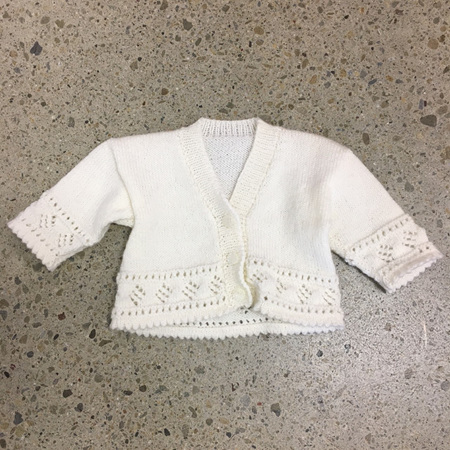 Knitted Pure Wool Cardigan - White 3-6 months