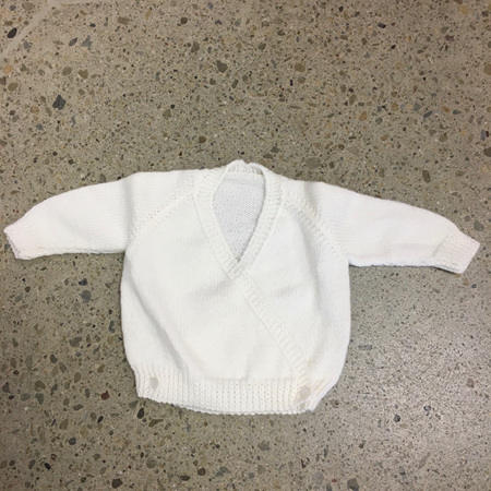 Knitted Pure Wool Crossover Cardigan - White 3-6 months