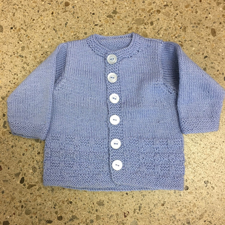Knitted Pure Wool Jacket - Blue 0-4 months